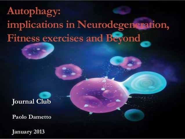 Autophagy: implications in Neurodegeneration, Fitness exercises and Beyond  Journal Club Paolo Dametto January 2013