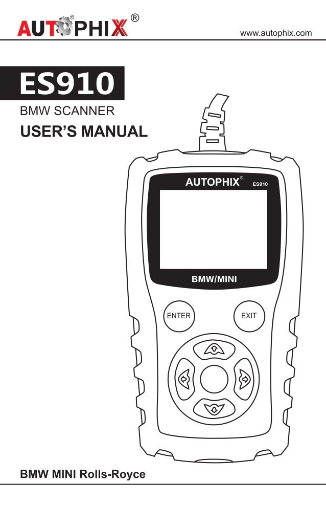 Autophix es910 bmw mini scanner user manual