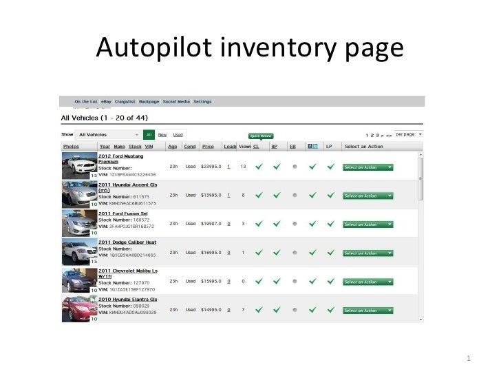 Autopilot inventory page                           1
