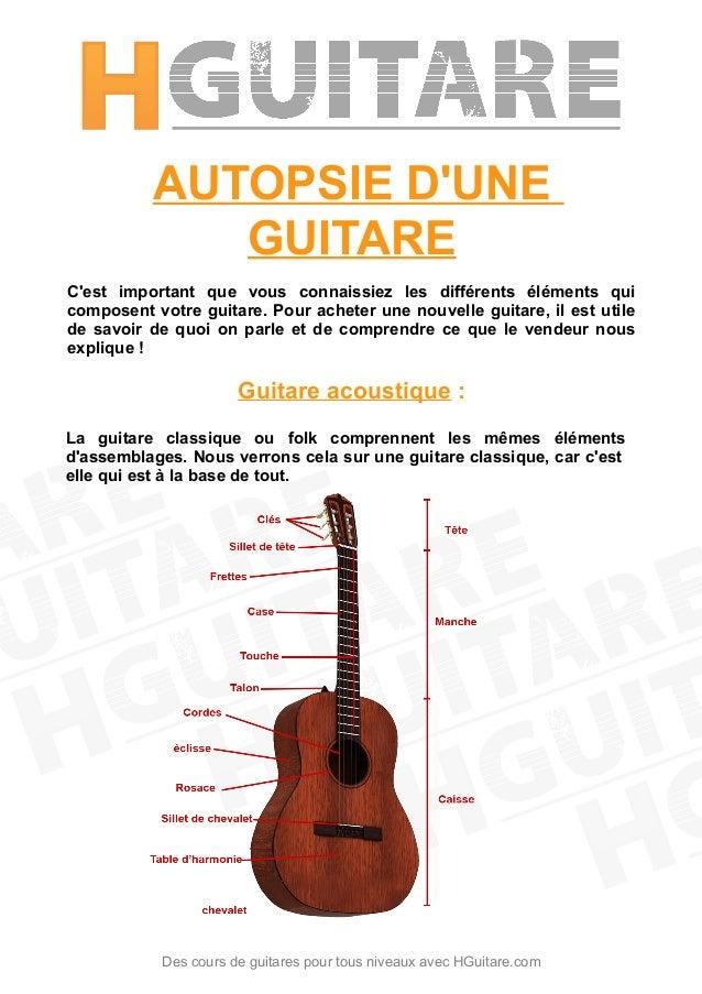 AUTOPSIE D'UNE GUITARE C'est important que vous connaissiez les différents éléments qui composent votre guitare. Pour ache...