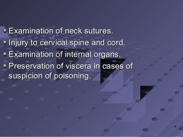Examination of neck sutures.Examination of neck sutures. Injury to cervical spine and cord.Injury to cervical spine and co...