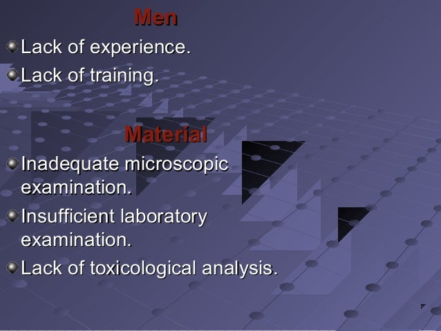 MenMen Lack of experience.Lack of experience. Lack of training.Lack of training. MaterialMaterial Inadequate microscopicIn...