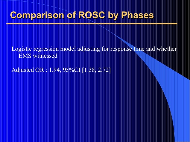 Comparison of ROSC by Phases <ul><li>Logistic regression model adjusting for response time and whether EMS witnessed </li>...