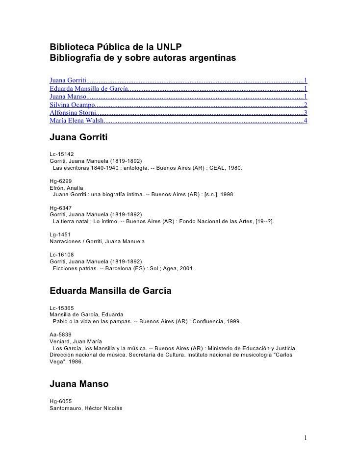 Biblioteca Pública de la UNLP Bibliografía de y sobre autoras argentinas  Juana Gorriti......................................