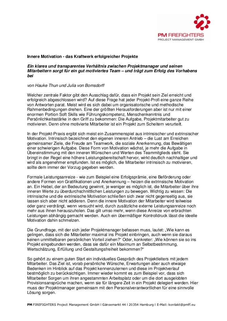 Innere Motivation - das Kraftwerk erfolgreicher ProjekteEin klares und transparentes Verhältnis zwischen Projektmanager un...