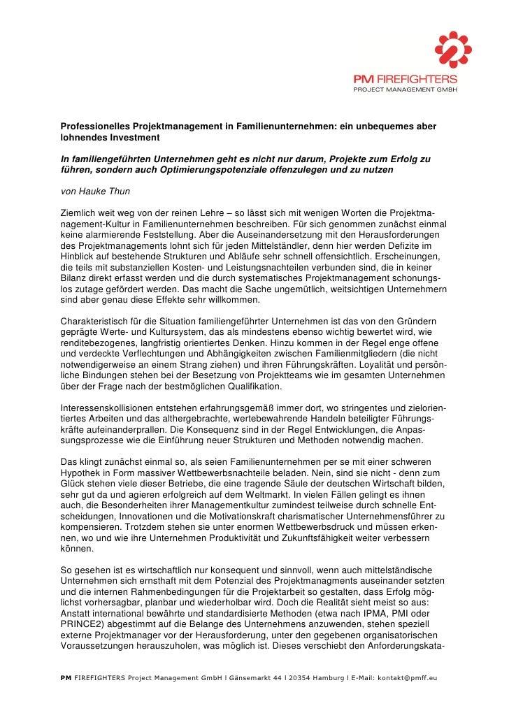 Professionelles Projektmanagement in Familienunternehmen: ein unbequemes aber lohnendes Investment  In familiengeführten U...