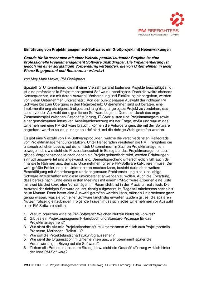 Einführung von Projektmanagement-Software: ein Großprojekt mit NebenwirkungenGerade für Unternehmen mit einer Vielzahl par...