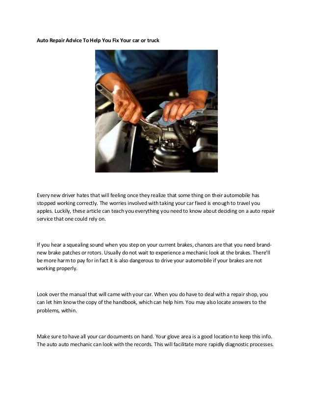 auto repair advice to help you fix your car or truck rh slideshare net Ford Auto Repair Manuals Online Library Auto Repair Manuals
