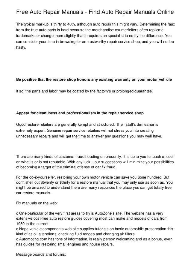 Free Auto Repair Manuals - Find Auto Repair Manuals Online