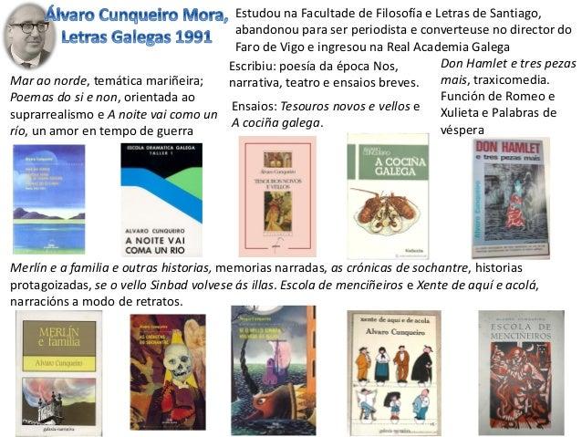 Escribiu: poesía da época Nos, narrativa, teatro e ensaios breves. Estudou na Facultade de Filosofía e Letras de Santiago,...