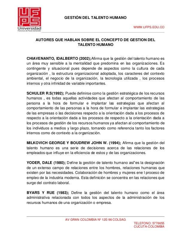 GESTIÓN DEL TALENTO HUMANOWWW.UFPS.EDU.COAV GRAN COLOMBIA Nº 12E-96 COLSAGTELEFONO: 5776655CUCUTA-COLOMBIAAUTORES QUE HABL...