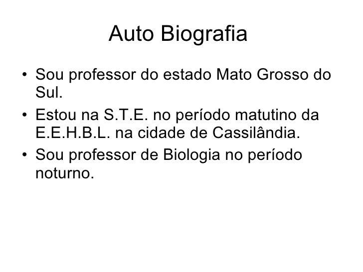 Auto Biografia  <ul><li>Sou professor do estado Mato Grosso do Sul. </li></ul><ul><li>Estou na S.T.E. no período matutino ...