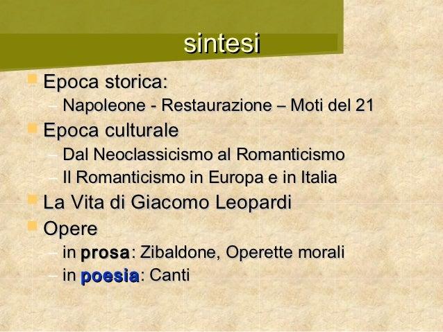 Giacomo Leopardi - Autori italiani 1800 Slide 2