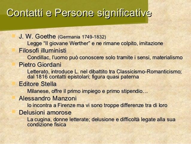 """Contatti e Persone significative    J. W. Goethe (Germania 1749-1832)     – Legge """"Il giovane Werther"""" e ne rimane colpit..."""