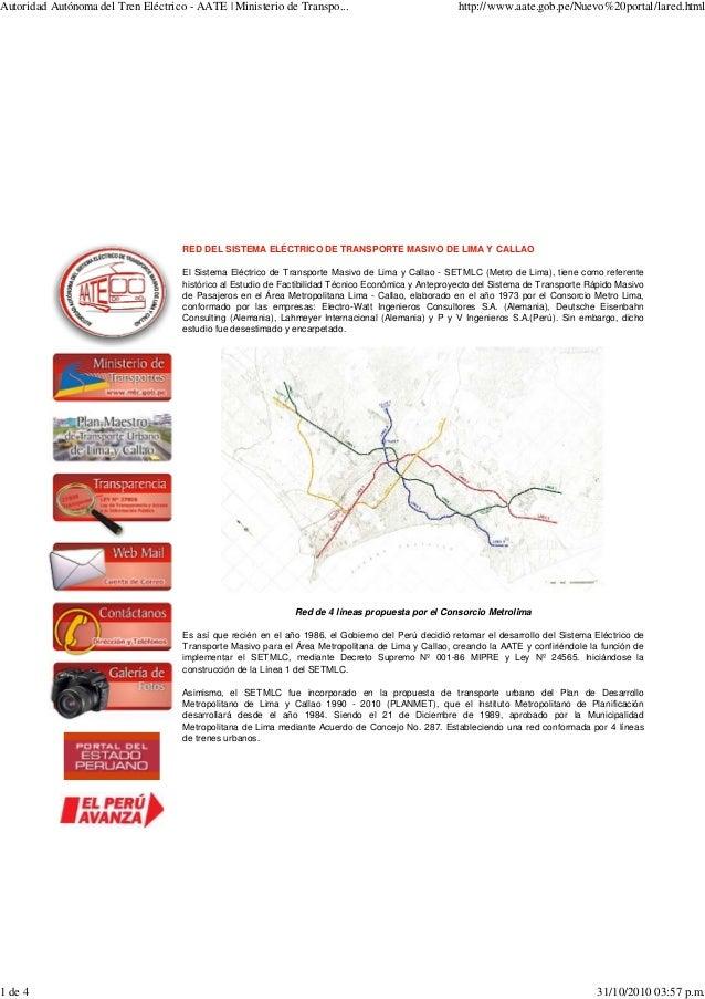 RED DEL SISTEMA ELÉCTRICO DE TRANSPORTE MASIVO DE LIMA Y CALLAO El Sistema Eléctrico de Transporte Masivo de Lima y Callao...