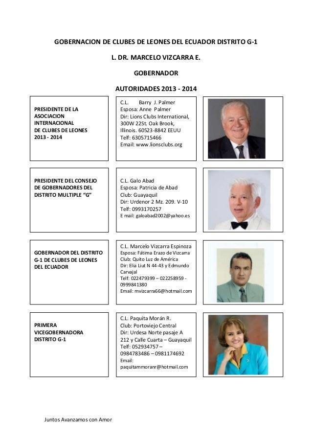 Juntos Avanzamos con Amor GOBERNACION DE CLUBES DE LEONES DEL ECUADOR DISTRITO G-1 L. DR. MARCELO VIZCARRA E. GOBERNADOR A...
