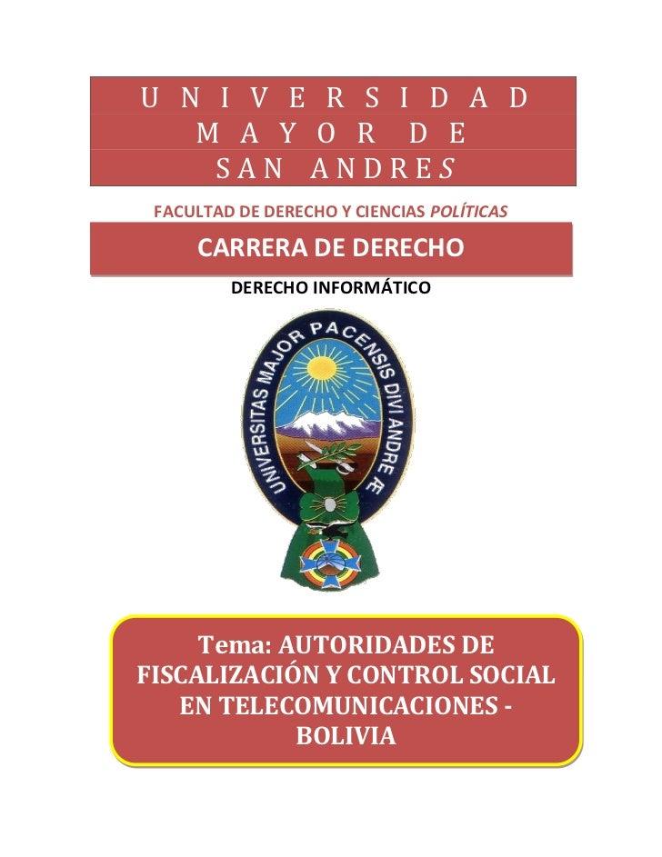 U N I V E R S I D A D   M A Y O R D E    SAN ANDRES FACULTAD DE DERECHO Y CIENCIAS POLÍTICAS     CARRERA DE DERECHO       ...