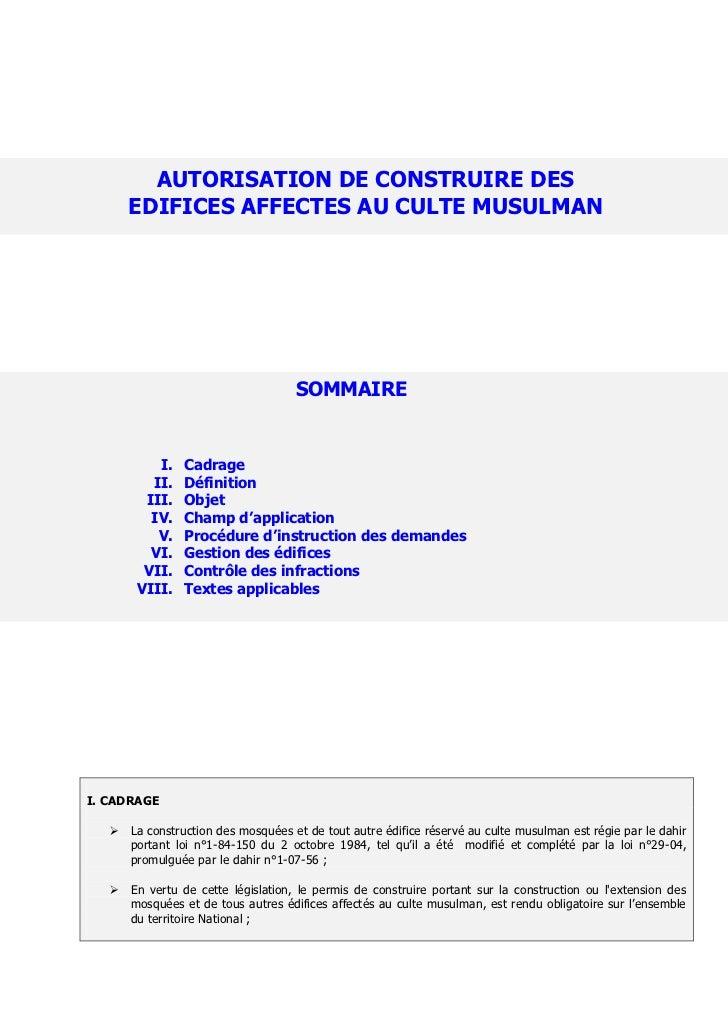 AUTORISATION DE CONSTRUIRE DES       EDIFICES AFFECTES AU CULTE MUSULMAN                                     SOMMAIRE     ...