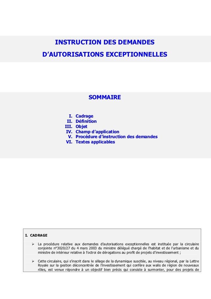 INSTRUCTION DES DEMANDES         D'AUTORISATIONS EXCEPTIONNELLES                                       SOMMAIRE           ...