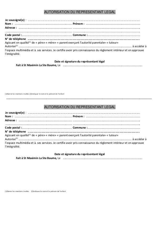 autorisation parentale On formulaire s2062