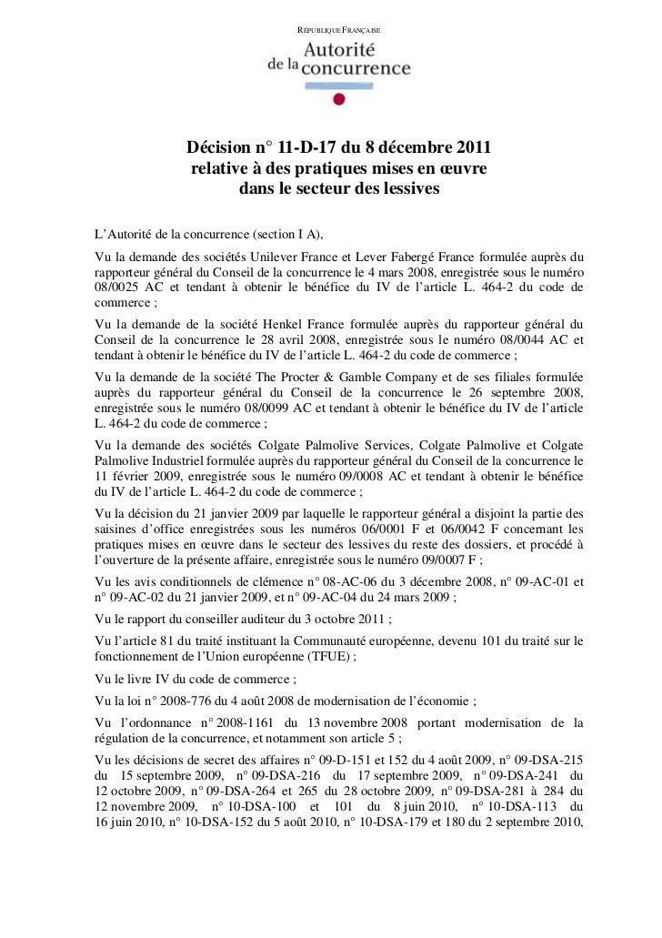 RÉPUBLIQUE FRANÇAISE                 Décision n° 11-D-17 du 8 décembre 2011                 relative à des pratiques mises...