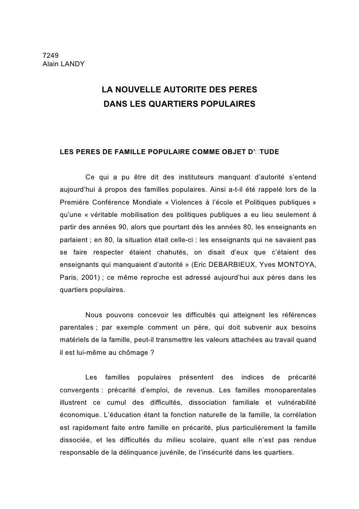 7249 Alain LANDY                       LA NOUVELLE AUTORITE DES PERES                     DANS LES QUARTIERS POPULAIRES   ...
