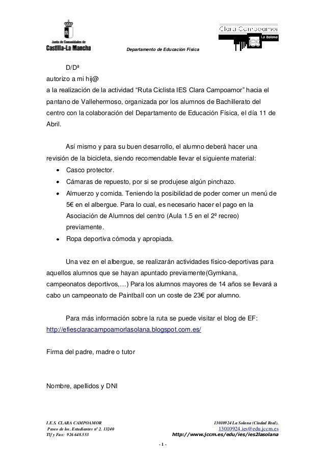 Departamento de Educación Física I.E.S. CLARA CAMPOAMOR 13010924 La Solana (Ciudad Real). Paseo de los. Estudiantes nº 2. ...