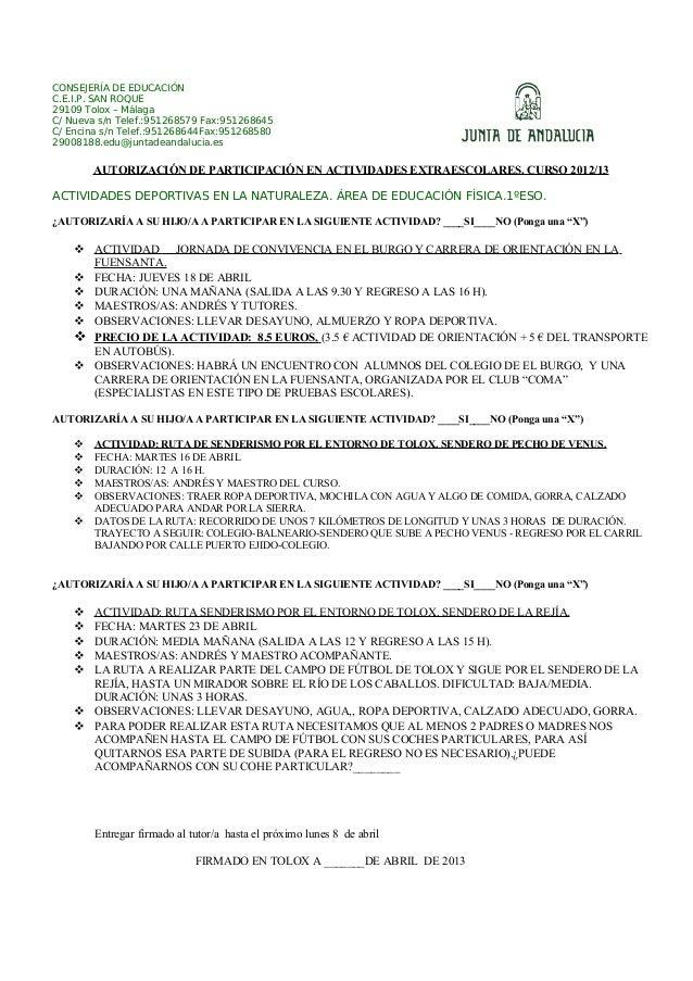 CONSEJERÍA DE EDUCACIÓNC.E.I.P. SAN ROQUE29109 Tolox – MálagaC/ Nueva s/n Telef.:951268579 Fax:951268645C/ Encina s/n Tele...