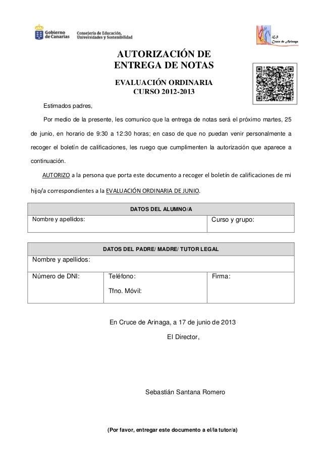 autorizacion entrega de notas