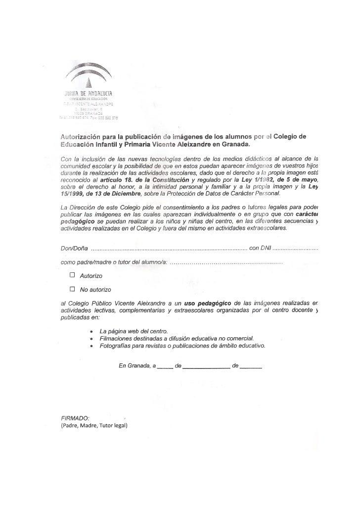 Autorización para la publicación de imágnes.