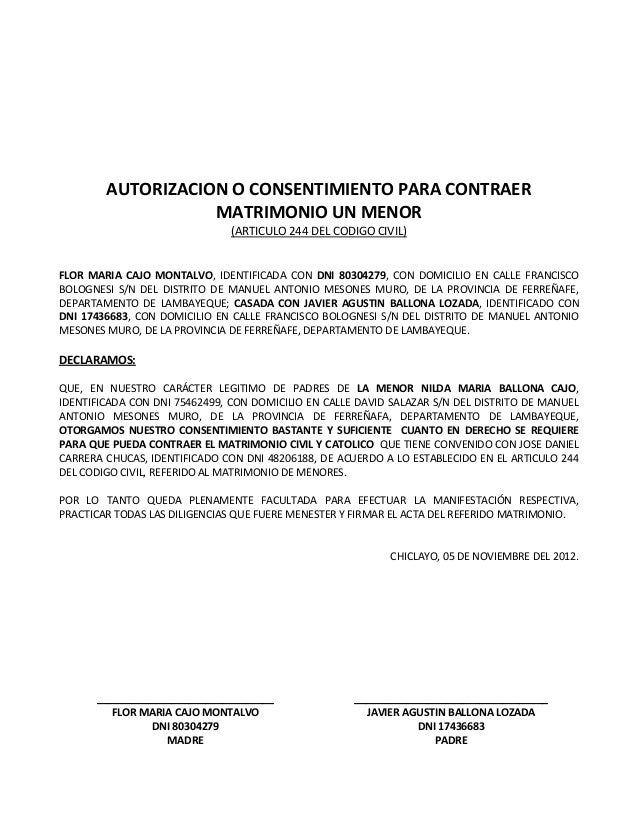 Autorizacion para matrimonio de menor for Tramites matrimonio civil