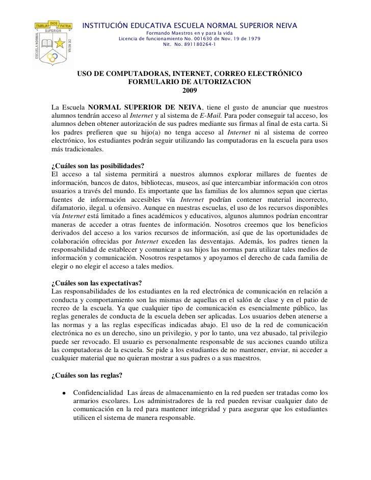 INSTITUCIÓN EDUCATIVA ESCUELA NORMAL SUPERIOR NEIVA                                    Formando Maestros en y para la vida...
