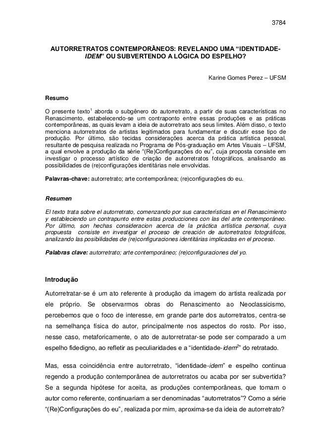 """3784  AUTORRETRATOS CONTEMPORÂNEOS: REVELANDO UMA """"IDENTIDADE-          IDEM"""" OU SUBVERTENDO A LÓGICA DO ESPELHO?         ..."""
