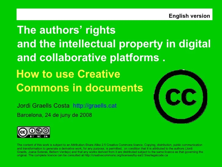 The content of this work is subject to an Attribution-Share Alike 2.5 Creative Commons licence. Copying, distribution, pub...