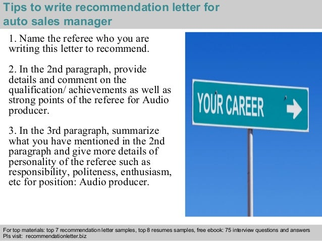 Auto sales manager recommendation letter