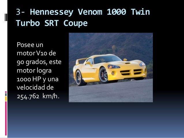 3- Hennessey Venom 1000 TwinTurbo SRT CoupePosee unmotor V10 de90 grados, estemotor logra1000 HP y unavelocidad de254.762 ...