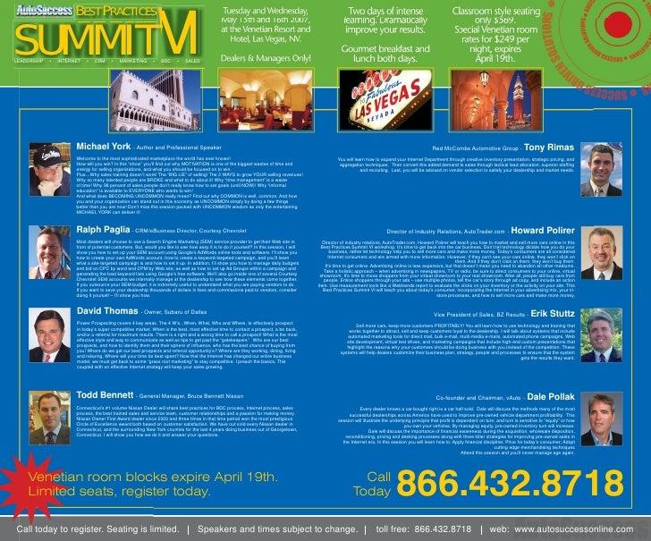 SUMMIT VI                        BEST PRACTICES   LEADERSHIP   •   INTERNET   •   CRM     •    MARKETING        •   BDC   ...