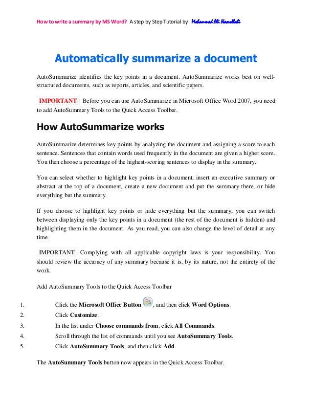 How to write a summary by MS Word? A step by Step Tutorial by Mohammad Ali NasrollahiAutomatically summarize a documentAut...