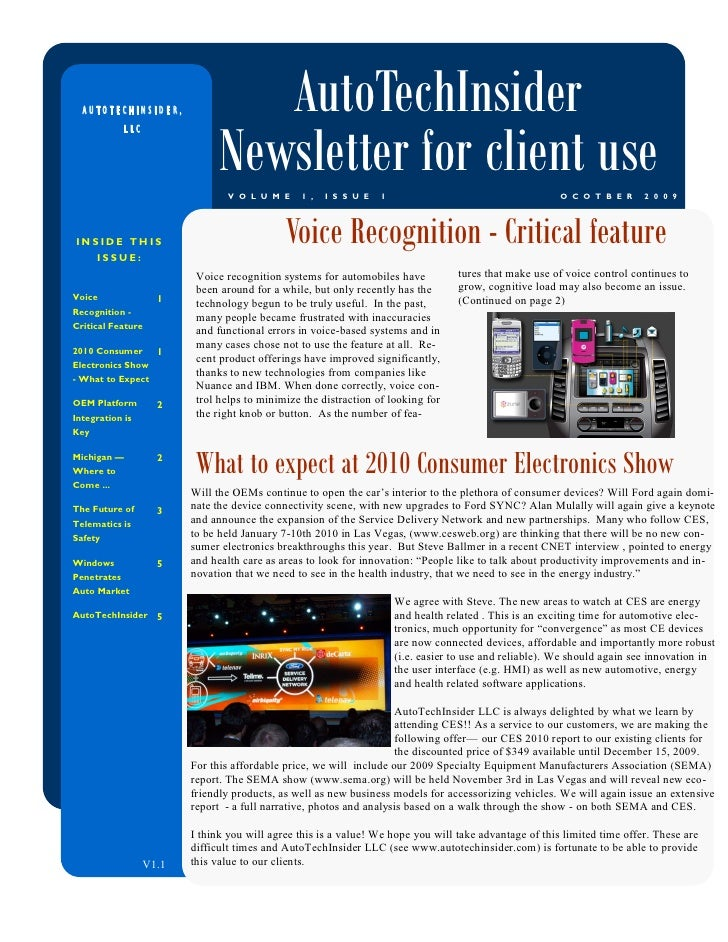 AUTOTECHINSIDER,                 AutoTechInsider                                 Newsletter for client use              LL...