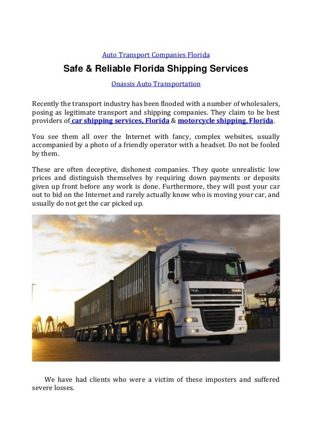 Car Moving Companies >> Safe Reliable Florida Shipping Services