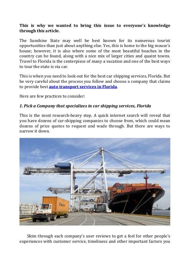 Safe Reliable Florida Shipping Services