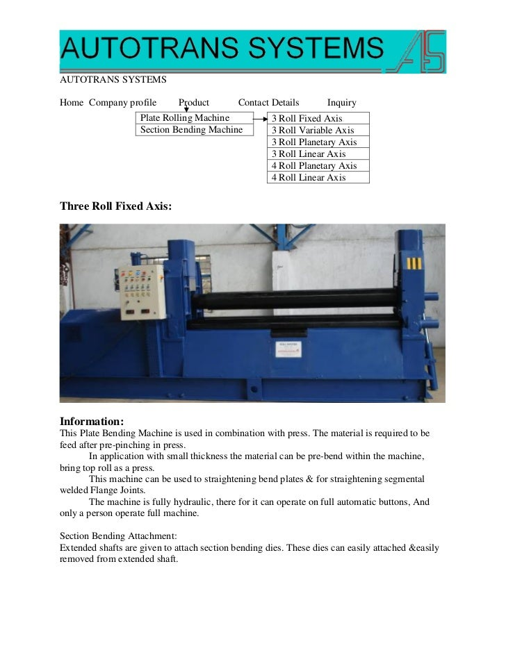 AUTOTRANS SYSTEMSHome Company profile          Product        Contact Details        Inquiry                    Plate Roll...