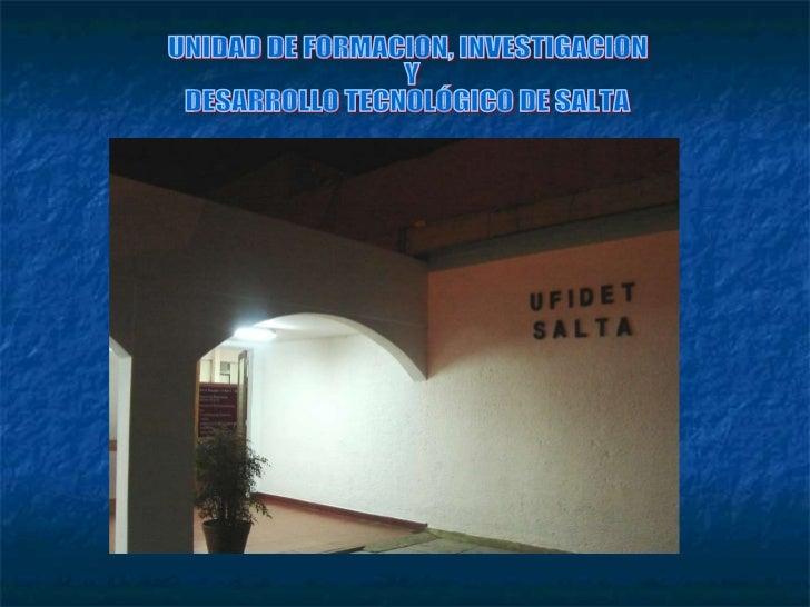 UNIDAD DE FORMACION, INVESTIGACION Y  DESARROLLO TECNOLÓGICO DE SALTA