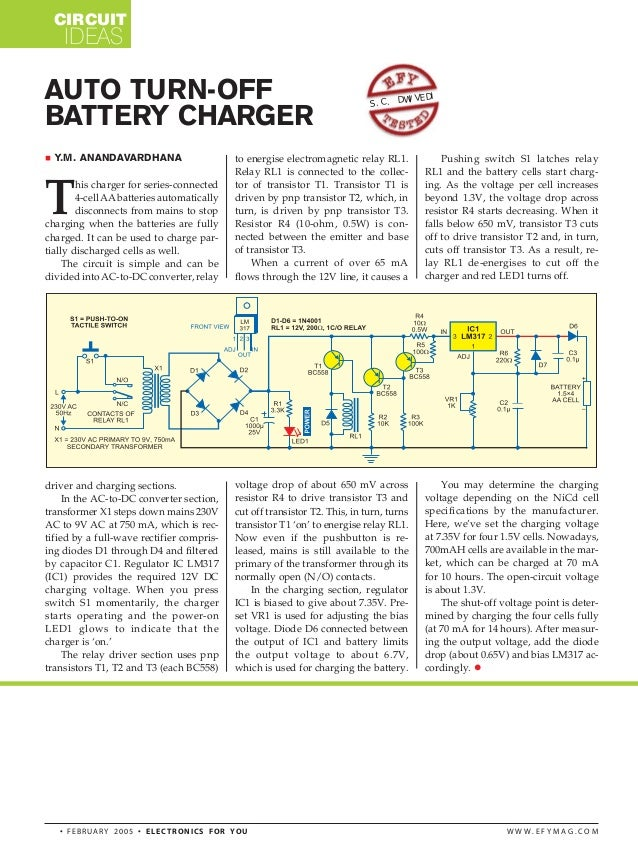 Auto turn off battery charger