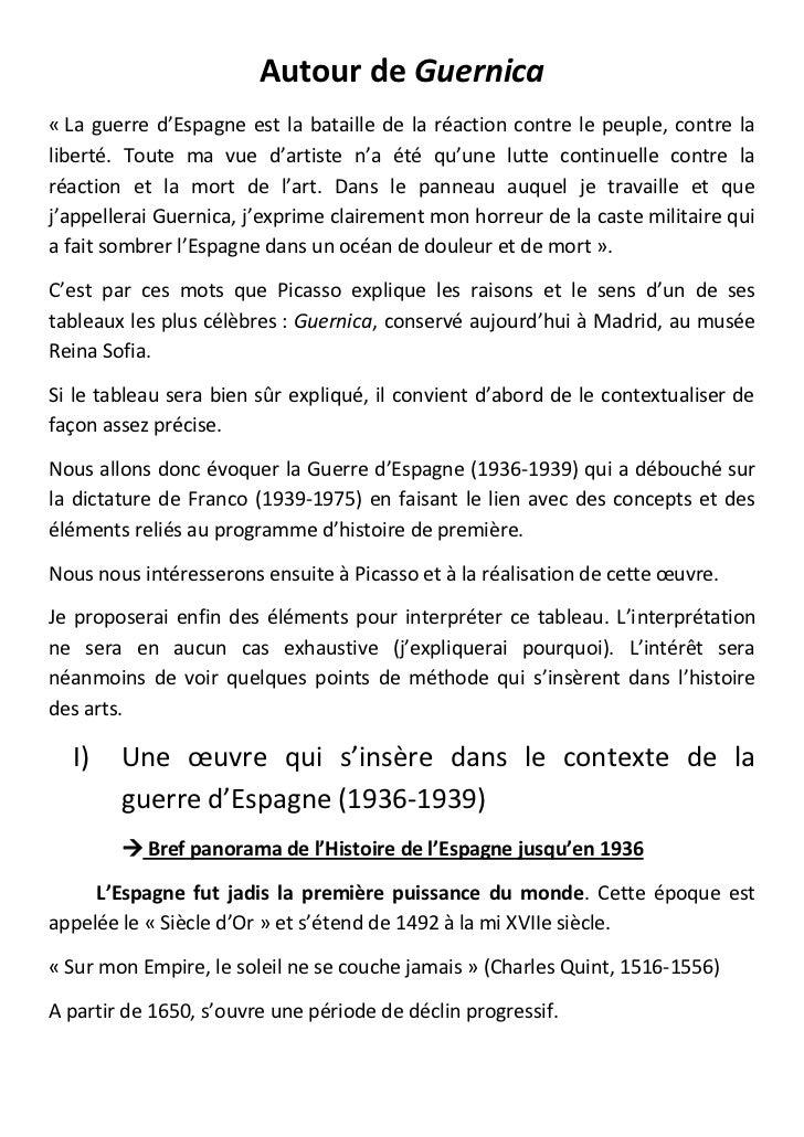 Autour de Guernica« La guerre d'Espagne est la bataille de la réaction contre le peuple, contre laliberté. Toute ma vue d'...