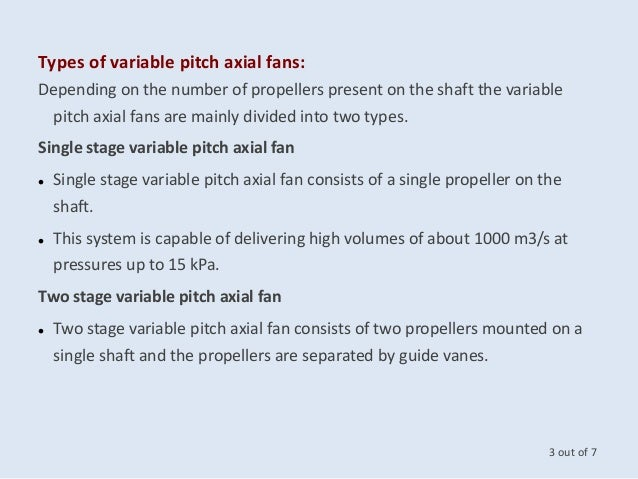 Variable Pitch Fan : Auto variable pitch axial flow fans