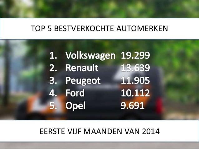 TOP 5 BESTVERKOCHTE AUTOMERKEN EERSTE VIJF MAANDEN VAN 2014