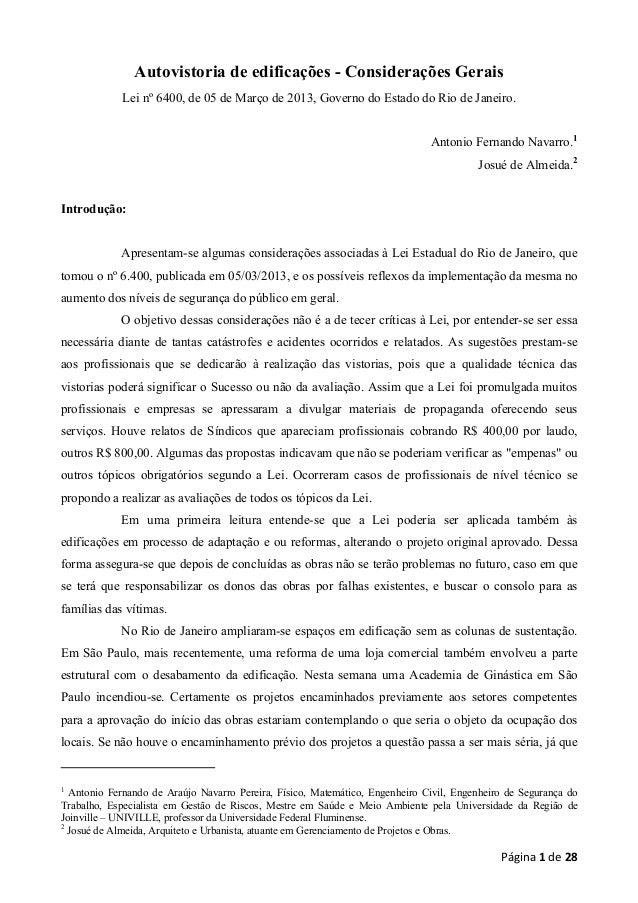 Autovistoria de edificações - Considerações Gerais Lei nº 6400, de 05 de Março de 2013, Governo do Estado do Rio de Janeir...