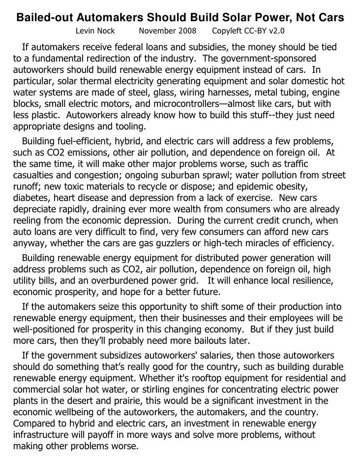 Bailed-out Automakers Should Build Solar Power, Not Cars                Levin Nock      November 2008     Copyleft CC-BY v...
