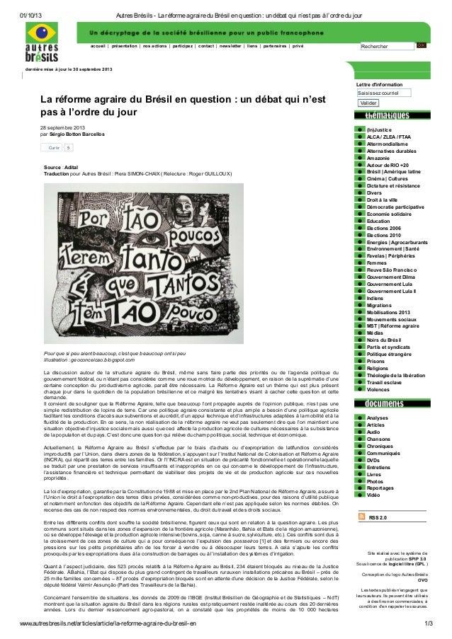 01/10/13 Autres Brésils - La réforme agraire du Brésil en question : un débat qui n'est pas à l'ordre du jour www.autresbr...